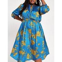 RI Plus Wrapped Printed Midi Dress - Blue, Blue, Size 22, Women