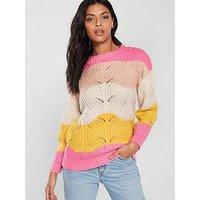V by Very Stripe Stitch Jumper - Stripe, Stripe, Size 20, Women