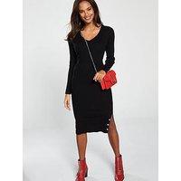V by Very Skinny Rib Popper Hem Detail Knitted Midi Dress - Black, Black, Size 18, Women