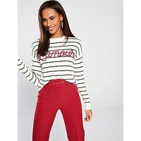 V by Very Embroidered Stripe Jumper - Stripe, Stripe, Size 10, Women