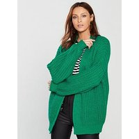 V by Very Fisherman Rib Blouson Sleeve Cardigan - Green, Green, Size M, Women