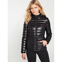 V by Very Petite Shiny Lightweight Padded Coat - Black, Black, Size 10, Women