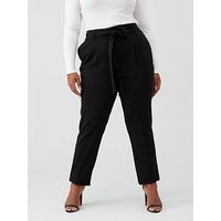 V by Very Curve Tapered leg trouser, Black, Size 22, Women