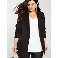 V by Very Curve Longline blazer, Black, Size 24, Women