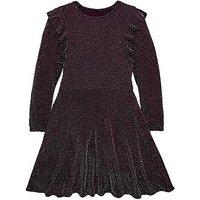 V by Very Girls Glitter Skater Party Dress, Burgundy, Size 10 Years, Women
