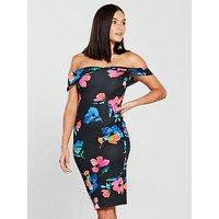 V by Very Bodycon Bardot Neckline Dress - Printed, Print, Size 8, Women