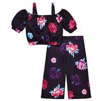 V by Very Girls Floral & Spot Culotte Co-ord Outfit, Black, Size Age: 7 Years, Women