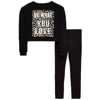 V by Very Girls Leopard Print Sweatshirt & Legging Outfit, Black, Size Age: 12 Years, Women