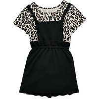V by Very Girls Leopard Print T-shirt & Pinafore Outfit, Multi, Size Age: 14 Years, Women