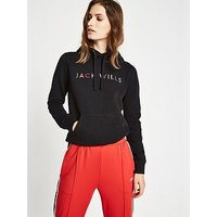 Jack Wills Hunston Embroidered Hoodie, Black, Size 14, Women