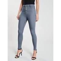 V by Very Addison Super High Waisted Corset Skinny Jean - Grey , Grey, Size 10, Inside Leg Long, Women