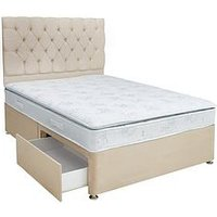 Airsprung New Victoria Pillow Top Divan Bed With Storage Options - Grey, Natural