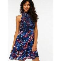 Monsoon Nina Print Short Dress - Navy, Navy, Size 10, Women