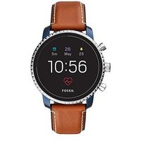 Fossil Q Explorist Gen 4 Full Display with Blue IP and Brown Leather Strap Mens Smartwatch, One Colour, Men