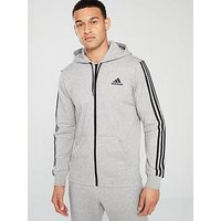 adidas 3S Full Zip Hoodie - Medium Grey Heather, Medium Grey Heather, Size 2Xl, Men