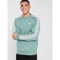 adidas Originals 3 Stripe Crew Neck Sweat - Green, Green, Size L, Men