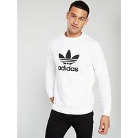 adidas Originals Trefoil Crew Neck Sweat - White, White, Size Xl, Men