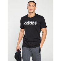 adidas Linear All Over Print Box T-shirt, Black, Size L, Men