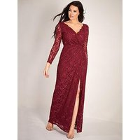 Sistaglam Loves Jessica Sequin Lace Wrap Maxi Dress - Berry