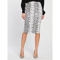 V By Very Textured Pencil Skirt - Snake Print