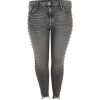 RI Plus Amelie Embellished Side Super Skinny Jeans - Black, Washed Black, Size 20, Women