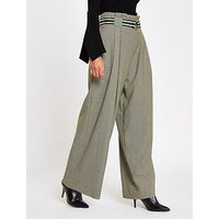 RI Petite Check Wide Leg Trousers- Grey, Grey, Size 4, Women