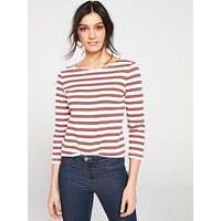 Joules Harbour Stripe Top - Red Stripe, Red Stripe, Size 8, Women