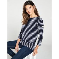 Joules Harbour Crew Neck Stripe T-Shirt - Navy, Navy, Size 14, Women
