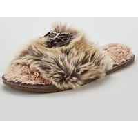 Bedroom Athletics Nadine Luxury Faux Fur Slide Slipper - Taupe, Taupe, Size L, Women