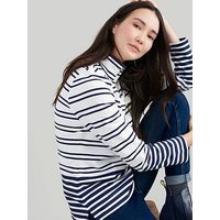 Joules Saunton Striped High Neck Sweatshirt - Navy/Cream, Creme, Size 16, Women