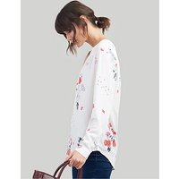 Joules Rosamund Woven Long Sleeve Top - Creme, Creme, Size 16, Women