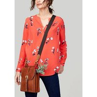 Joules Rosamund Woven Long Sleeve Top - Red , Red, Size 10, Women