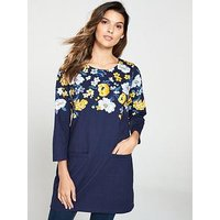 Joules Quinn Tunic With Pockets - Navy , Navy, Size 16, Women