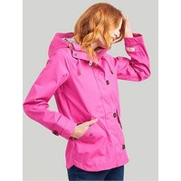 Joules Coast Hooded Waterproof Jacket, Pink, Size 10, Women