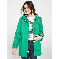 Joules Coast Mid Length Hooded Waterproof Jacket, Green, Size 14, Women