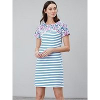 Joules Riviera Floral Stripe Dress - Blue Floral Stripe, Navy, Size 18, Women