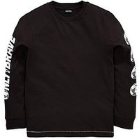Diesel Diesel Boys Print Long Sleeve Graphic T-shirt, Black, Size 6 Years