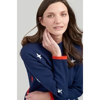 Joules Uma Milano Star Jumper, Navy, Size 12, Women