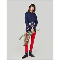 Joules Penny Embroidered Jumper - Navy, Navy, Size 12, Women