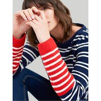 Joules Seaham Striped Chenille Jumper - Multi, Navy/Red, Size 14, Women