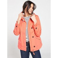 Joules Coast Hooded Waterproof Jacket, Coral, Size 12, Women