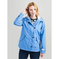 Joules Coast Hooded Waterproof Jacket, Blue, Size 18, Women