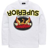Diesel Boys Long Sleeve Printed T-shirt, White, Size 12 Years