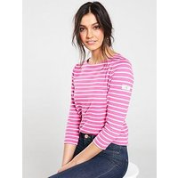 Joules Harbour Stripe Top, Pink Stripe, Size 14, Women