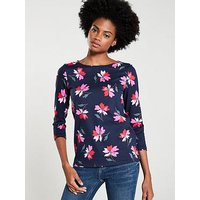 Joules Harbour Floral Top, Navy, Size 16, Women