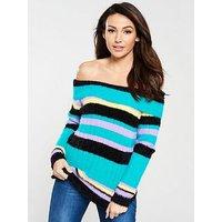 Michelle Keegan Fluffy Bardot Knitted Jumper - Stripe, Stripe, Size 14, Women