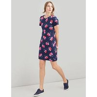 Joules Riviera Print Jersey Dress, Navy, Size 10, Women