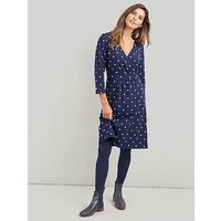 Joules Jude Jersey Wrap Dress, Navy, Size 8, Women