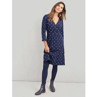 Joules Jude Jersey Wrap Dress, Navy, Size 12, Women