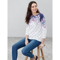 Joules Harbour Floral Top - Cream, Navy, Size 12, Women